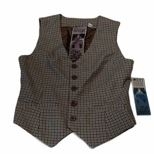 NWT L.A.M.B houndstooth plaid wool vest size 6